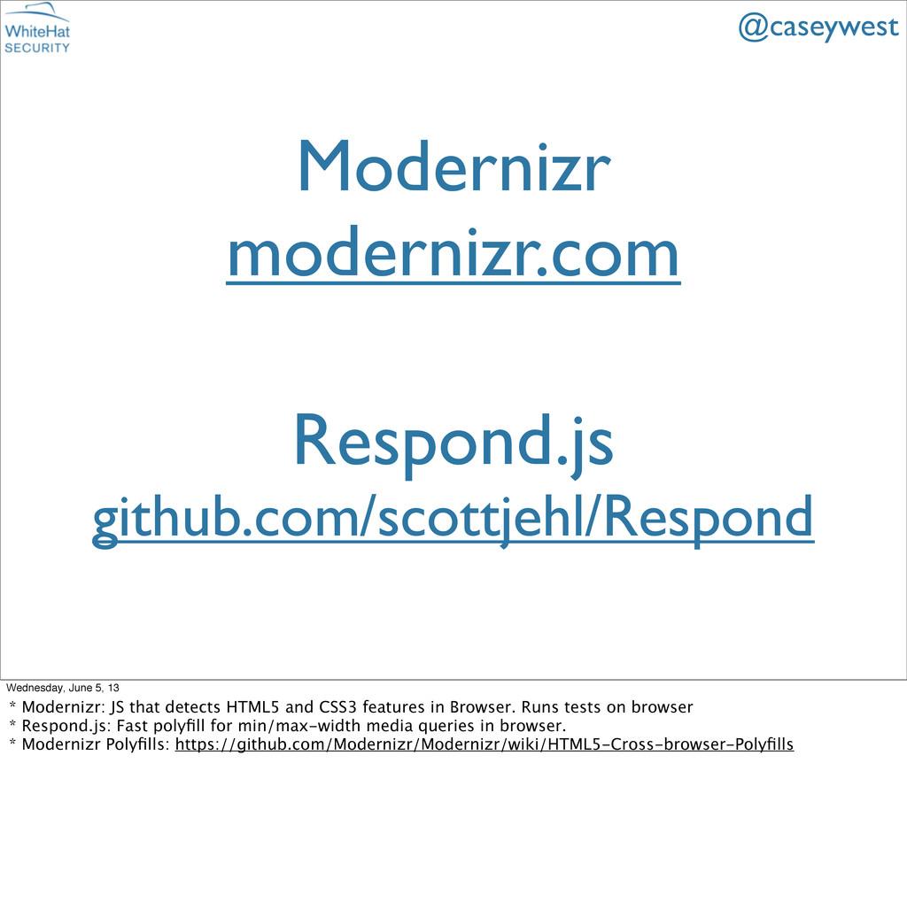 Modernizr modernizr.com @caseywest Respond.js g...