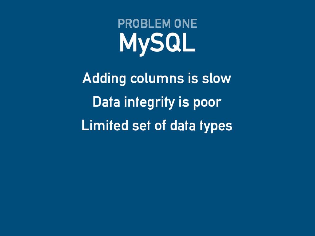 MySQL PROBLEM ONE Adding columns is slow Data i...