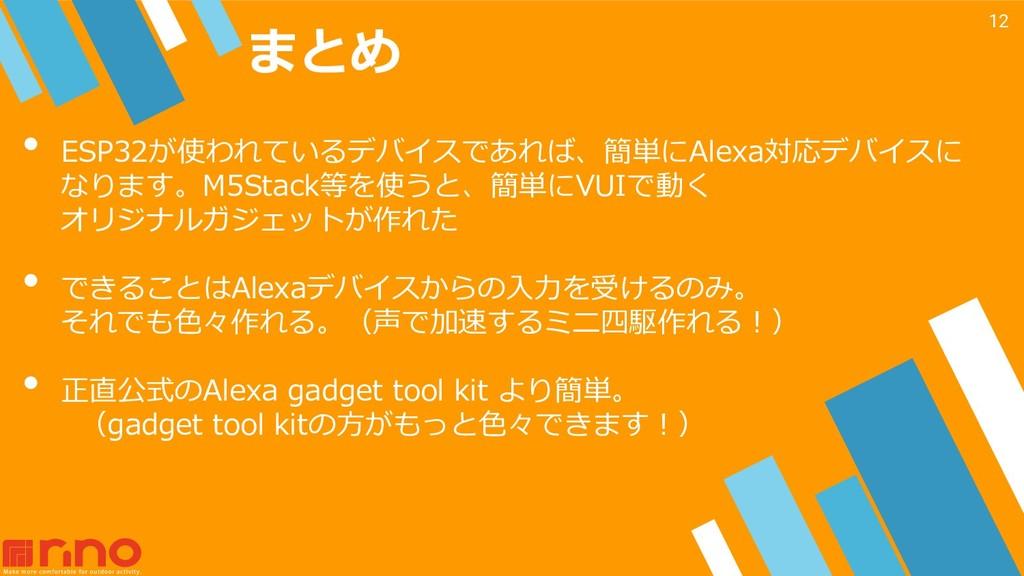 まとめ 12 • ESP32が使われているデバイスであれば、簡単にAlexa対応デバイスに な...
