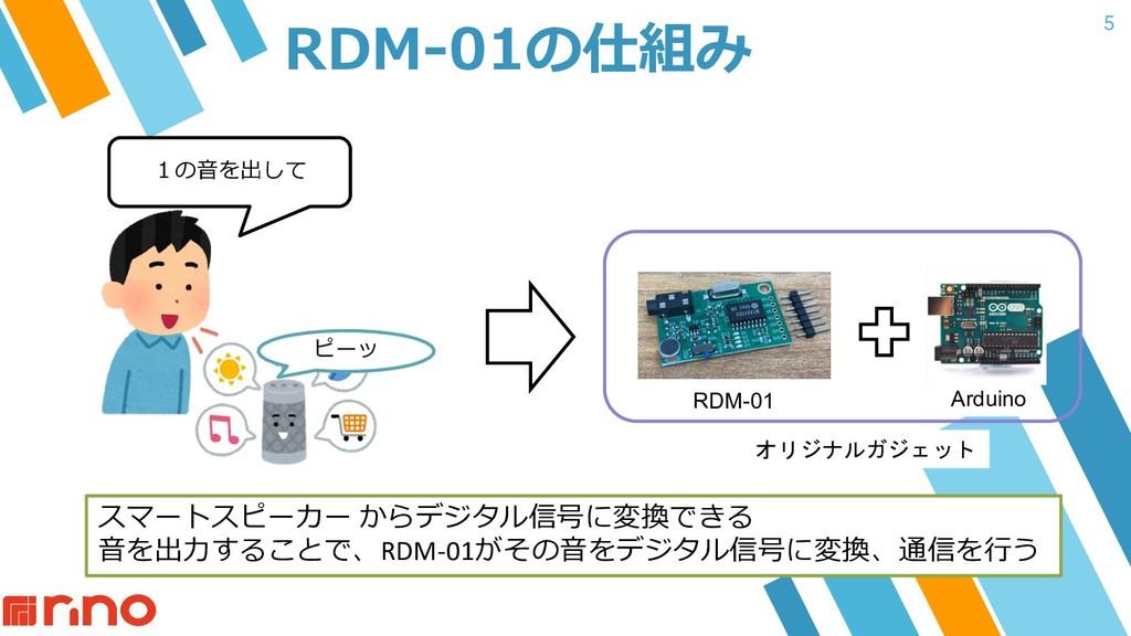 5 RDM-01の仕組み 1の⾳を出して ピーッ スマートスピーカー からデジタル信号に変換で...