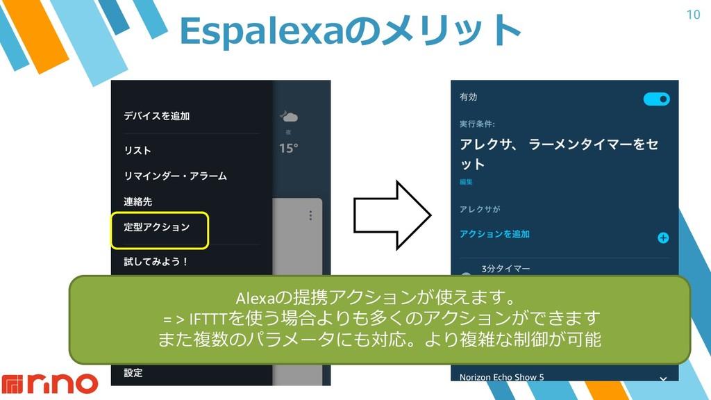 10 Espalexaのメリット Alexaの提携アクションが使えます。 = > IFTTTを...