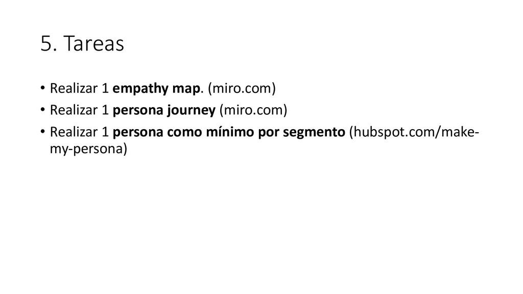 5. Tareas • Realizar 1 empathy map. (miro.com) ...