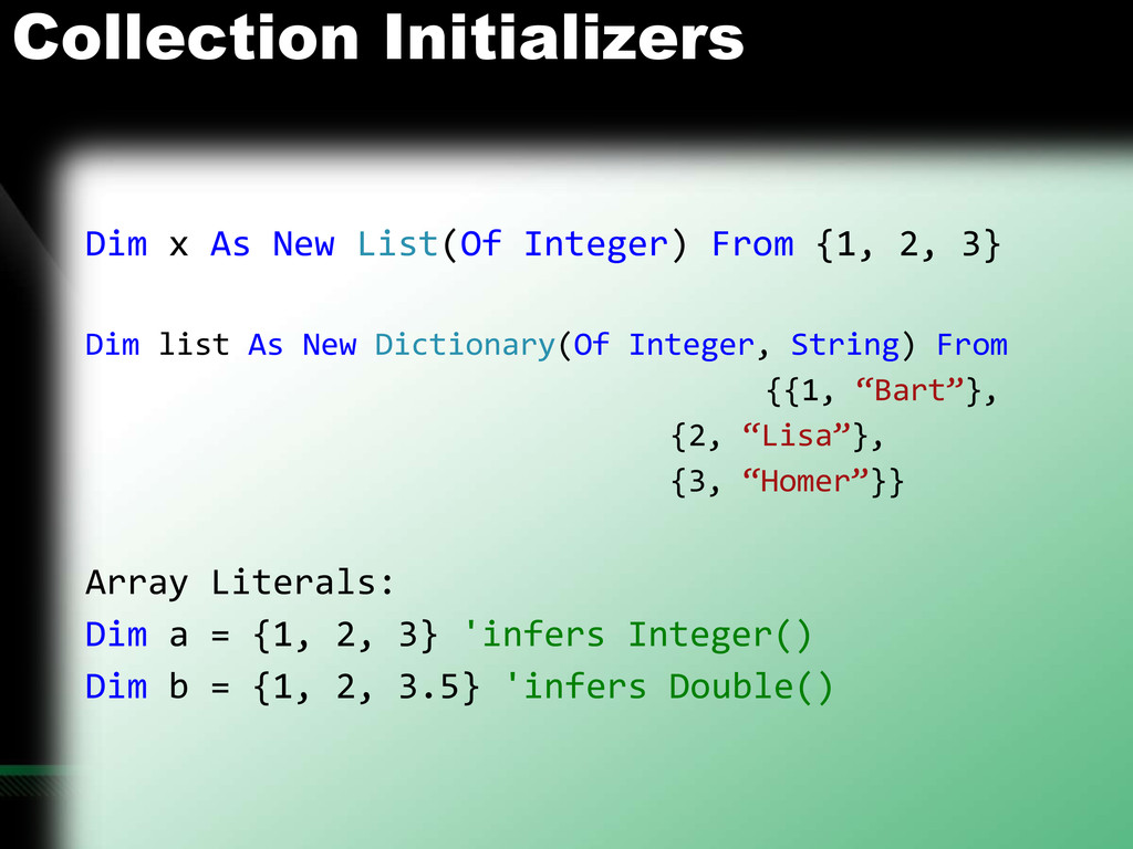 Collection Initializers Dim x As New List(Of In...