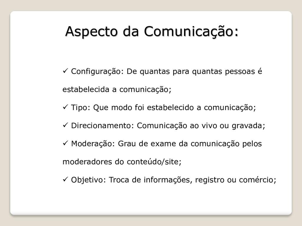 Aspecto da Comunicação: ✓ Configuração: De quan...