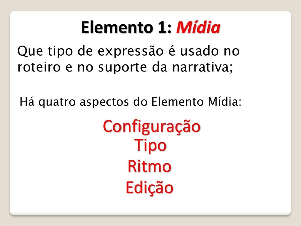 Elemento 1: Mídia Que tipo de expressão é usado...