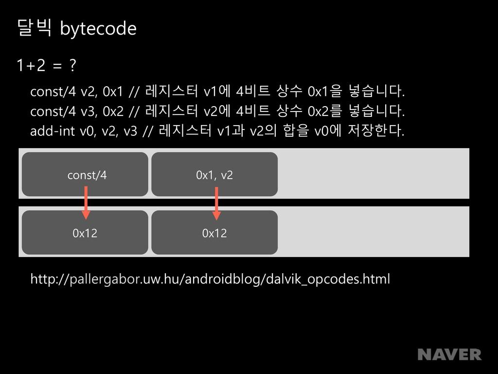 달빅 bytecode 1+2 = ? const/4 v2, 0x1 // 레지스터 v1에...