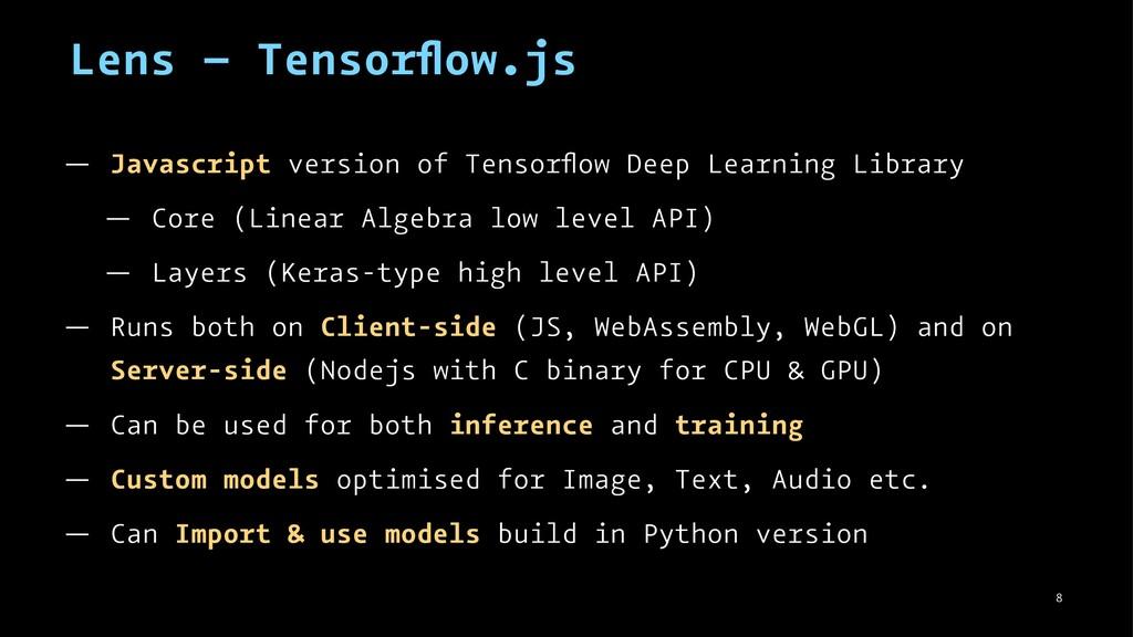 Lens – Tensorflow.js — Javascript version of Ten...