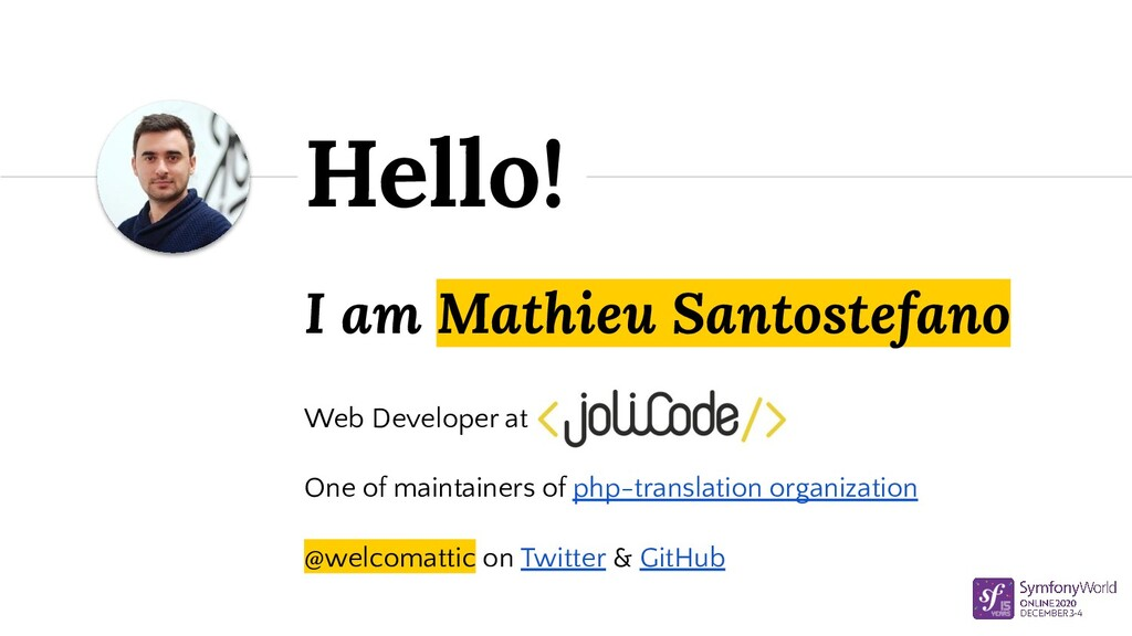 I am Mathieu Santostefano Web Developer at One ...
