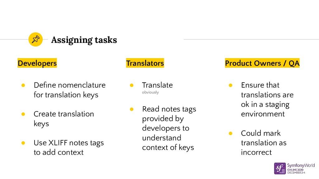 Assigning tasks Developers ● Define nomenclature...