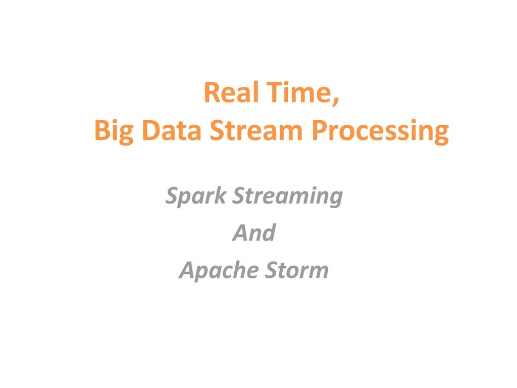 Real Time, Big Data Stream Processing Spark Str...