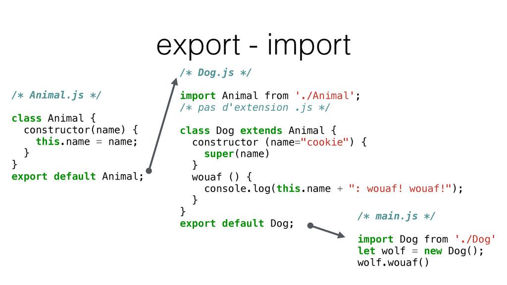 export - import /* Animal.js */ class Animal { ...