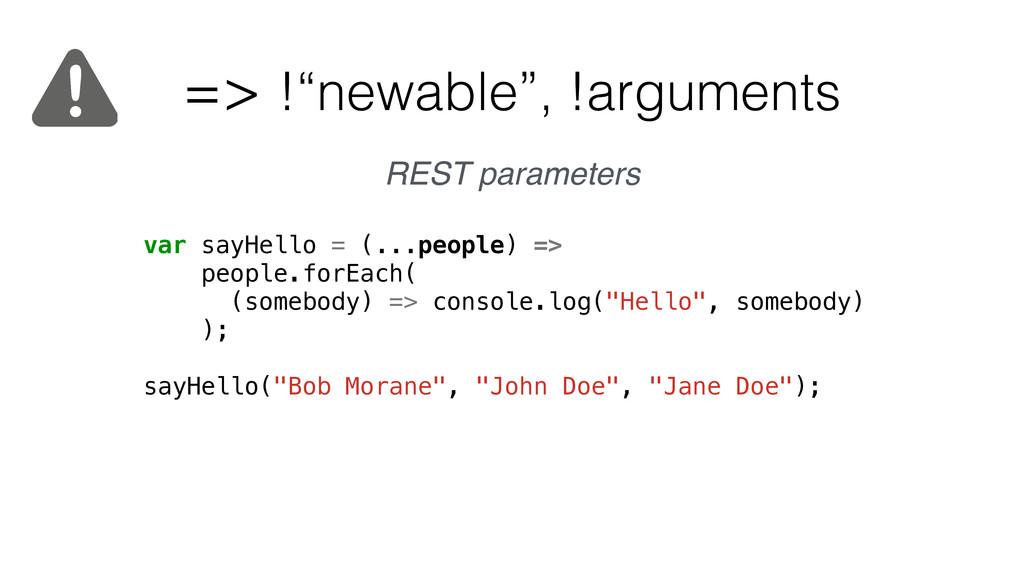"""=> !""""newable"""", !arguments var sayHello = (...pe..."""
