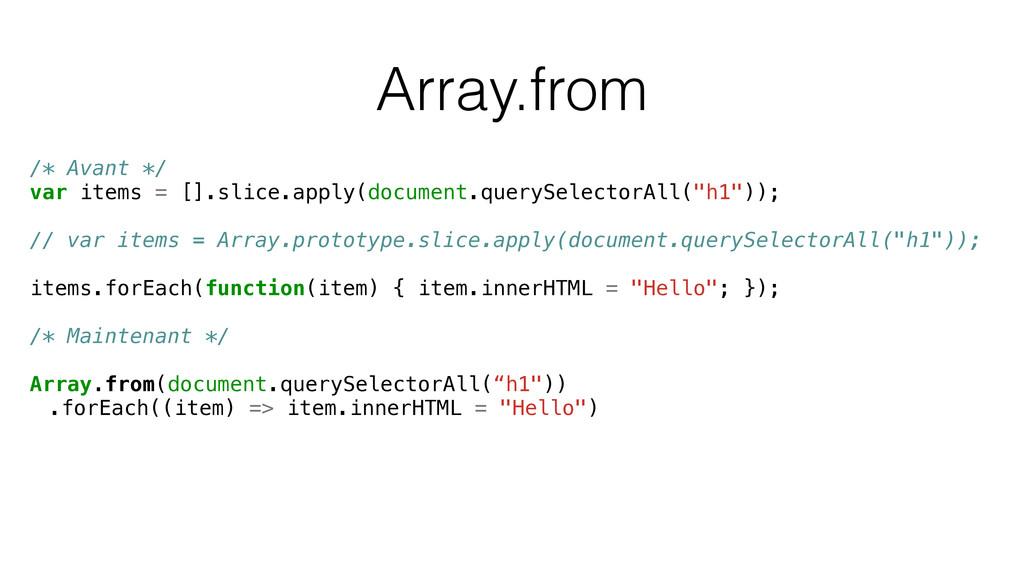 Array.from /* Avant */ var items = [].slice.app...