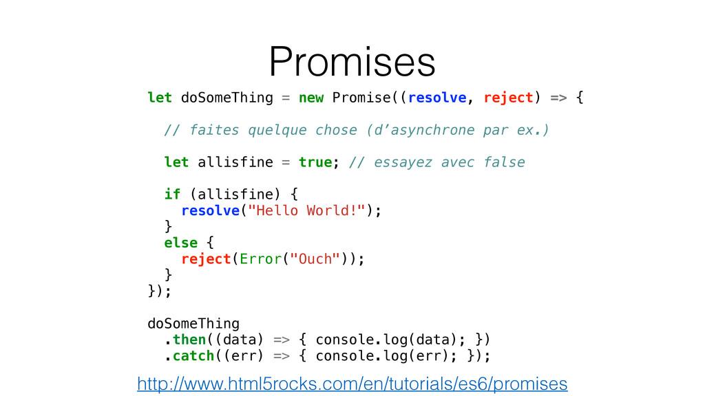 Promises let doSomeThing = new Promise((resolve...