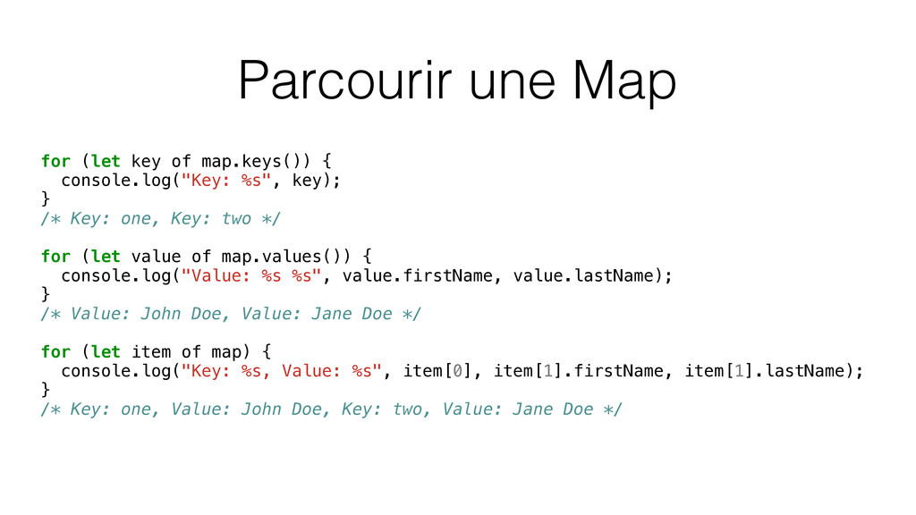Parcourir une Map for (let key of map.keys()) {...