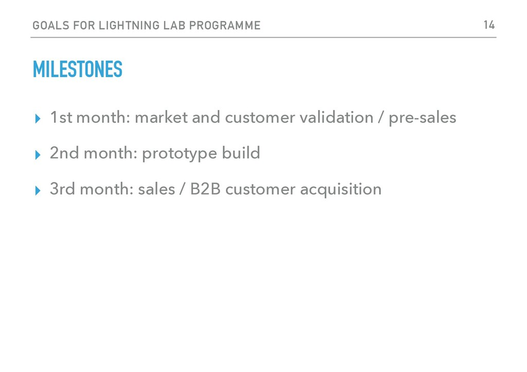 GOALS FOR LIGHTNING LAB PROGRAMME MILESTONES ▸ ...