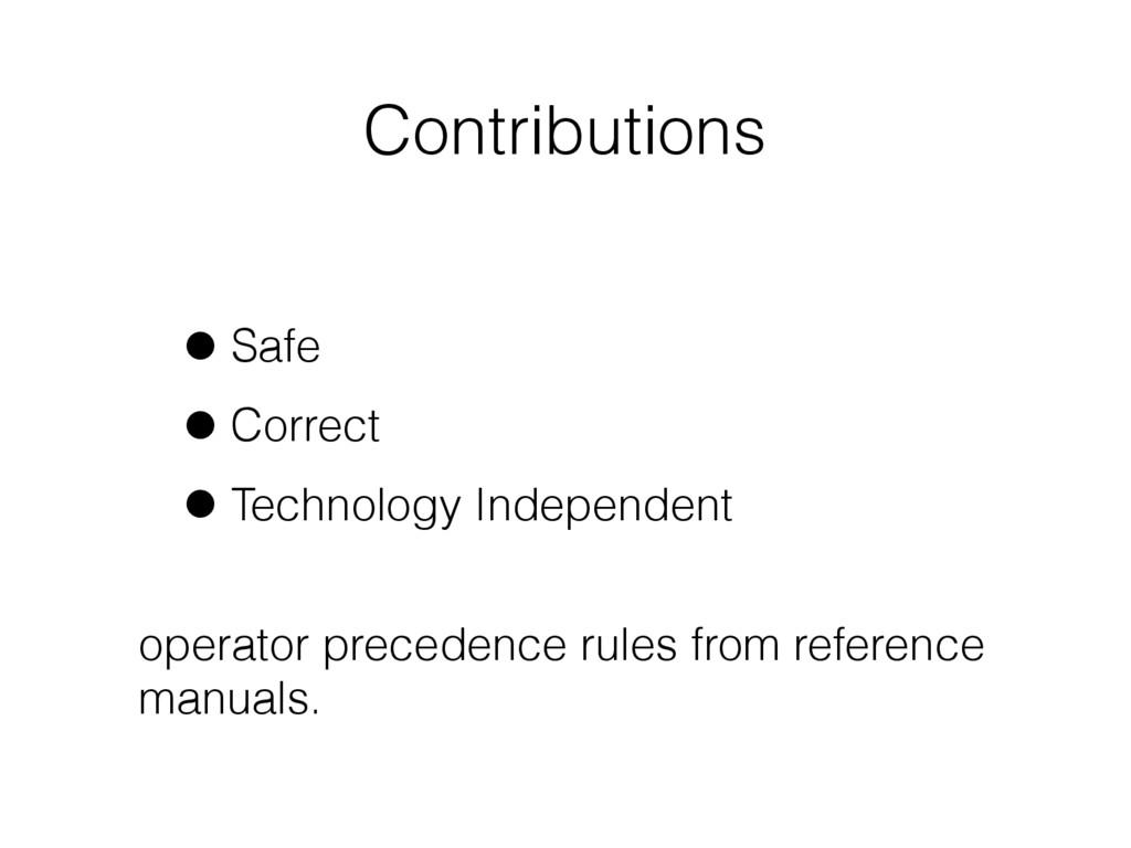Contributions •Safe •Correct •Technology Indepe...