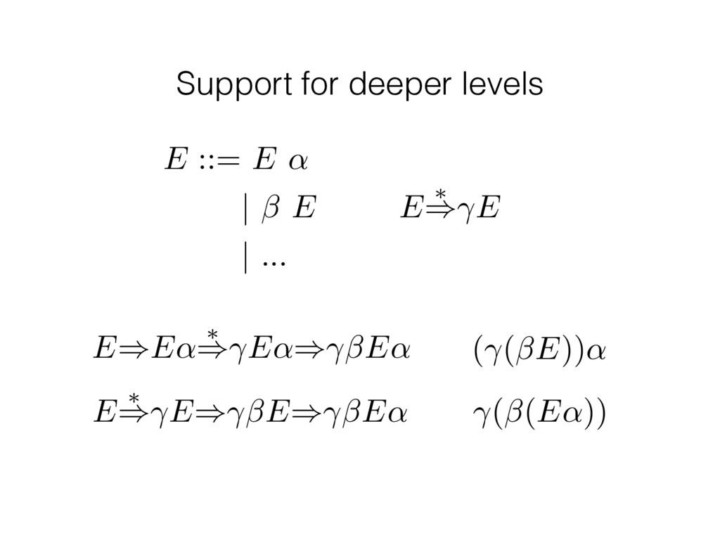 Support for deeper levels E ⇤ ) E E)E↵ ⇤ ) E↵) ...