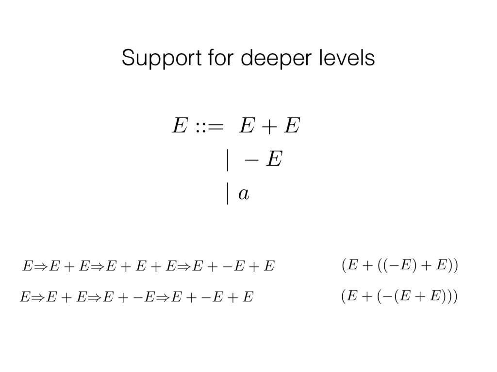 Support for deeper levels E ::= E + E | E | a E...