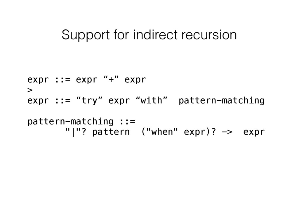 """Support for indirect recursion expr ::= expr """"+..."""
