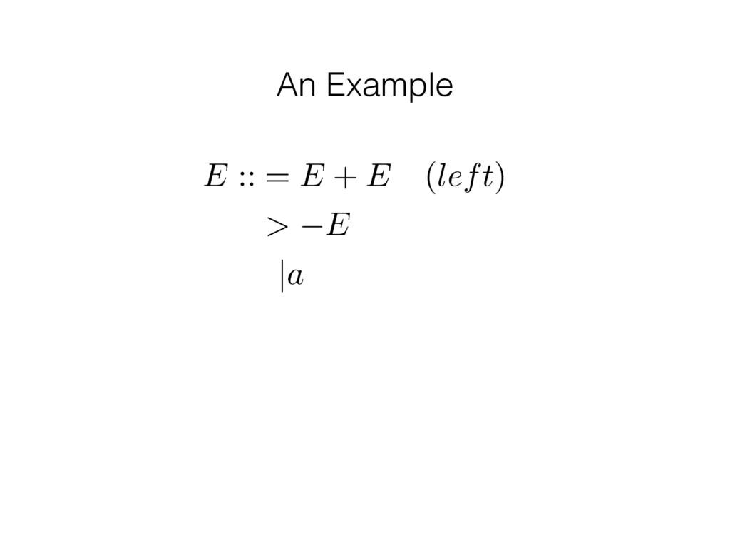 An Example E :: = E + E (left) > E |a