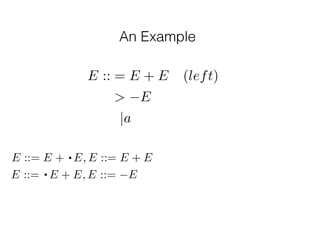 An Example E :: = E + E (left) > E |a E ::= E +...