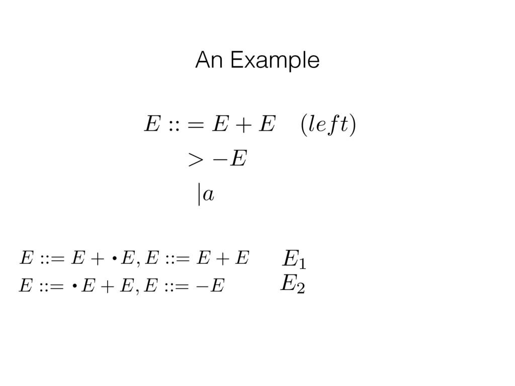 An Example E :: = E + E (left) > E |a E1 E2 E :...
