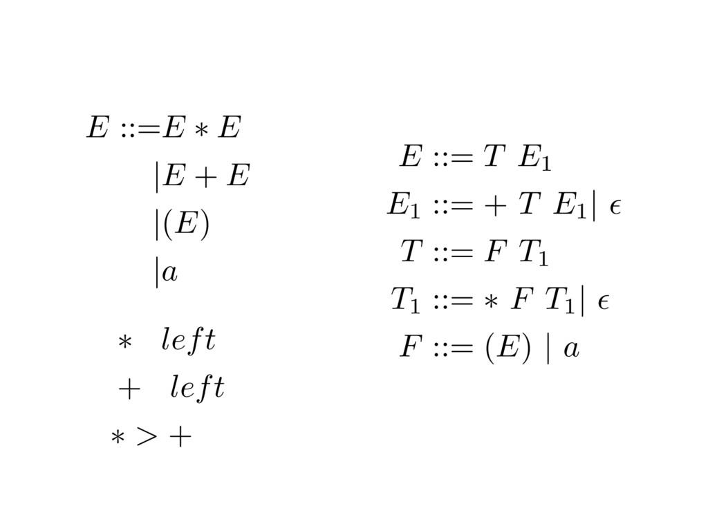 E ::= T E1 E1 ::= + T E1 | ✏ T ::= F T1 T1 ::= ...