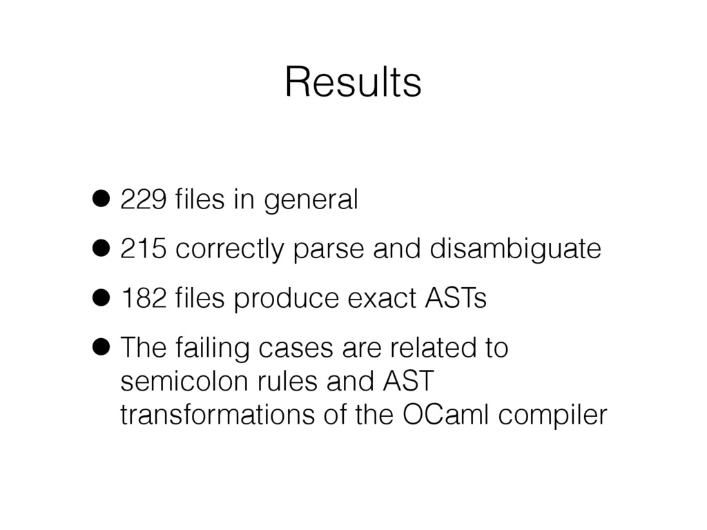 Results •229 files in general •215 correctly par...
