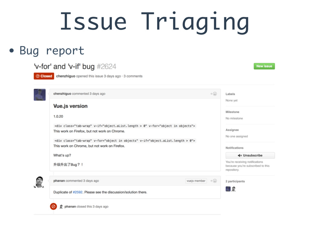 Issue Triaging • Bug report