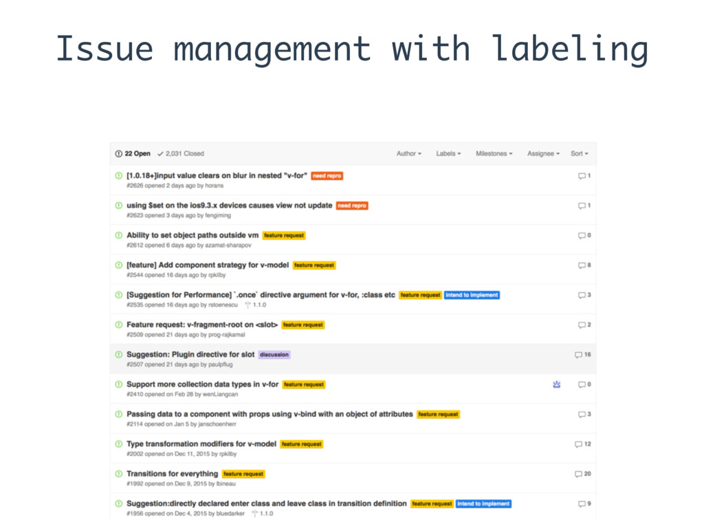 Issue management with labeling