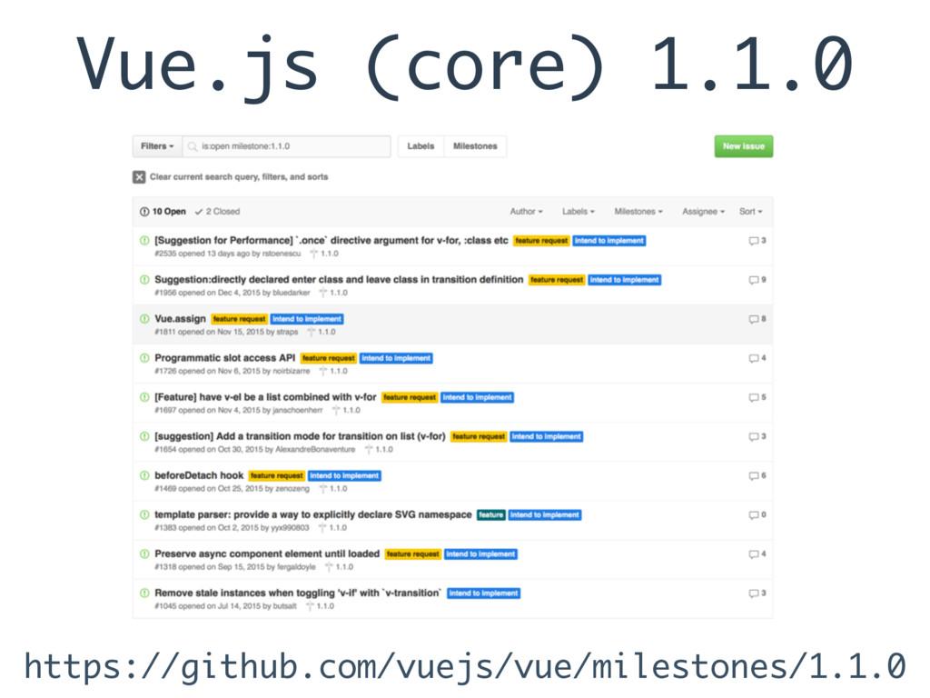 Vue.js (core) 1.1.0 https://github.com/vuejs/vu...
