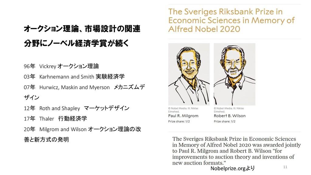 オークション理論、市場設計の関連 分野にノーベル経済学賞が続く 96年 Vickrey オーク...