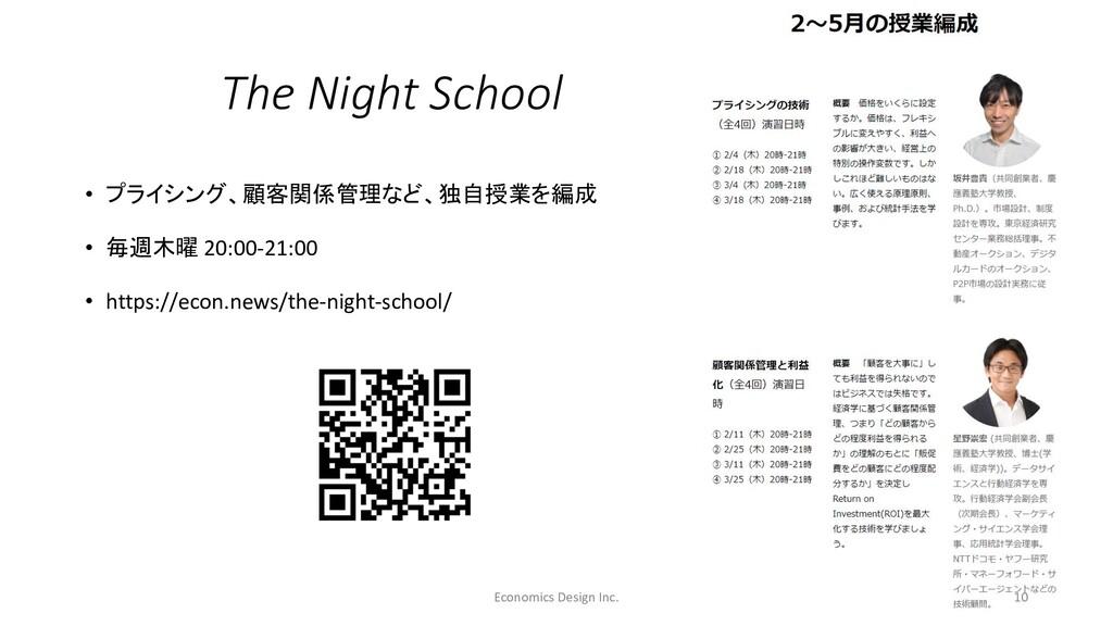 The Night School • プライシング、顧客関係管理など、独自授業を編成 • 毎週...