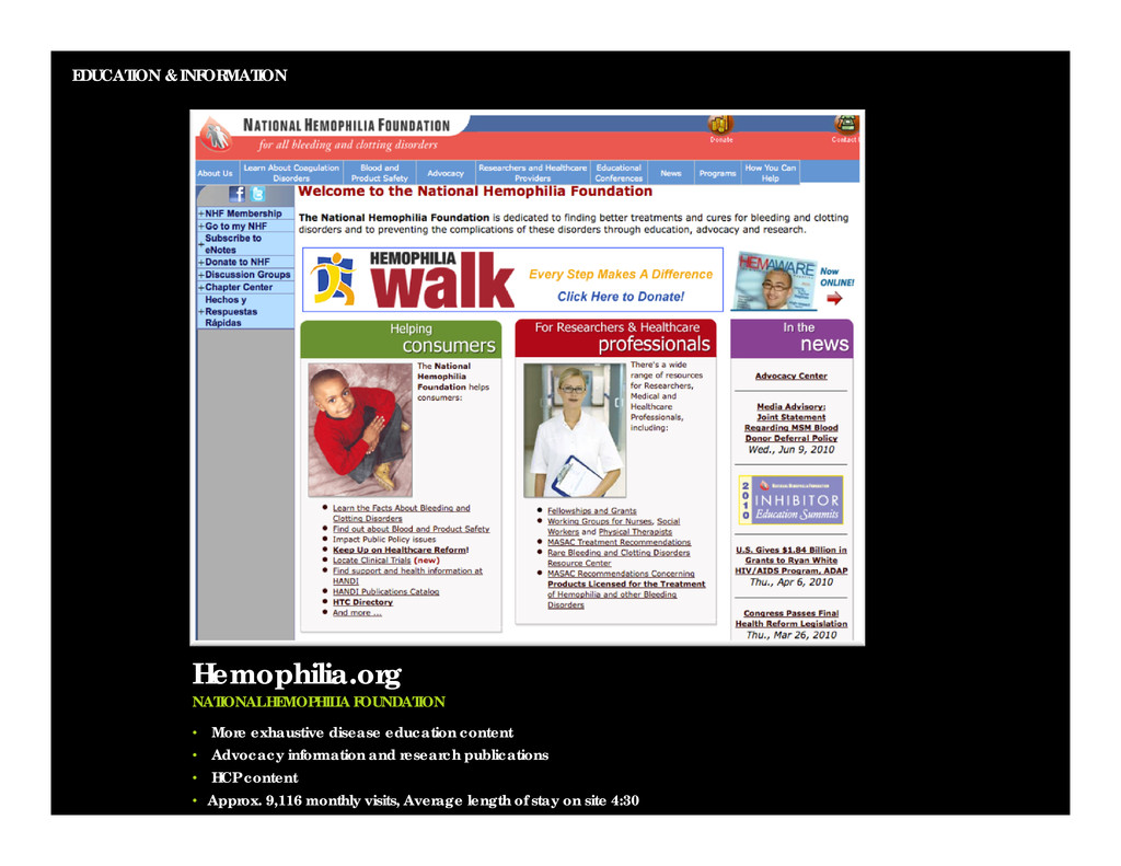 EDUCATION & INFORMATION Hemophilia.org NATIONAL...