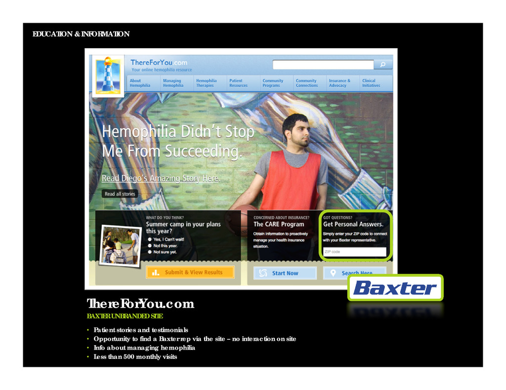 EDUCATION & INFORMATION ThereForYou.com BAXTER ...