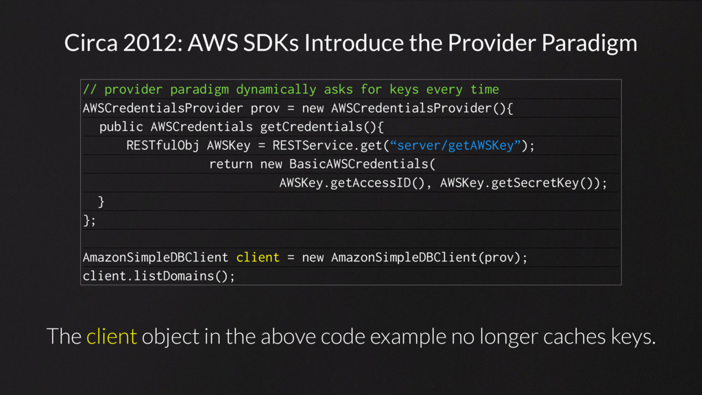 Circa 2012: AWS SDKs Introduce the Provider Par...