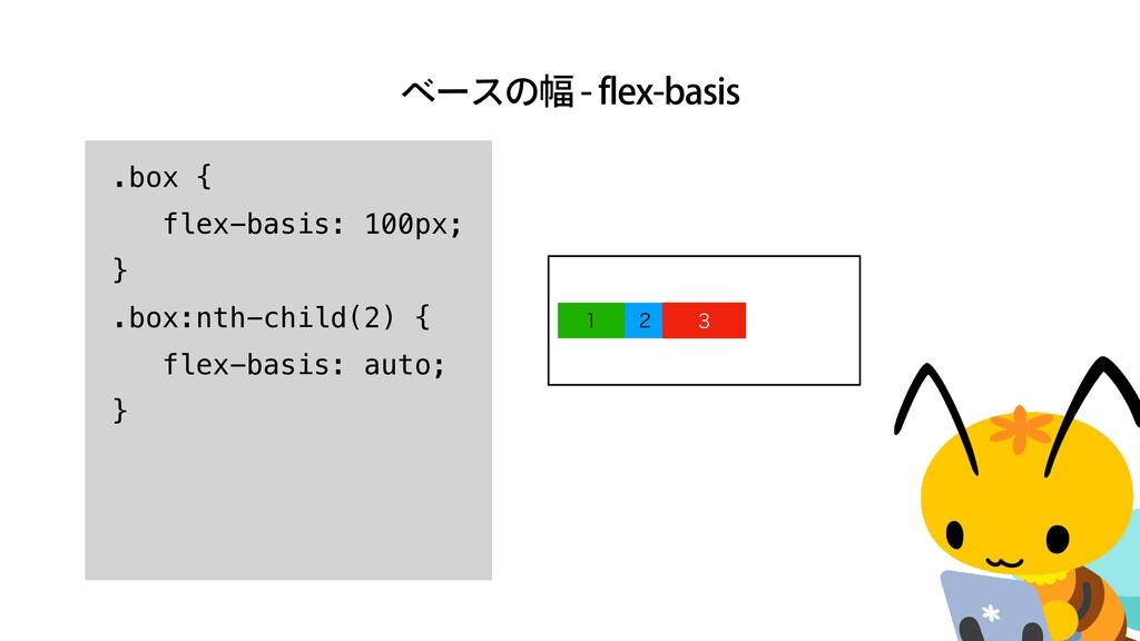 ϕʔεͷ෯GMFYCBTJT    .box {   flex-basis: 1...