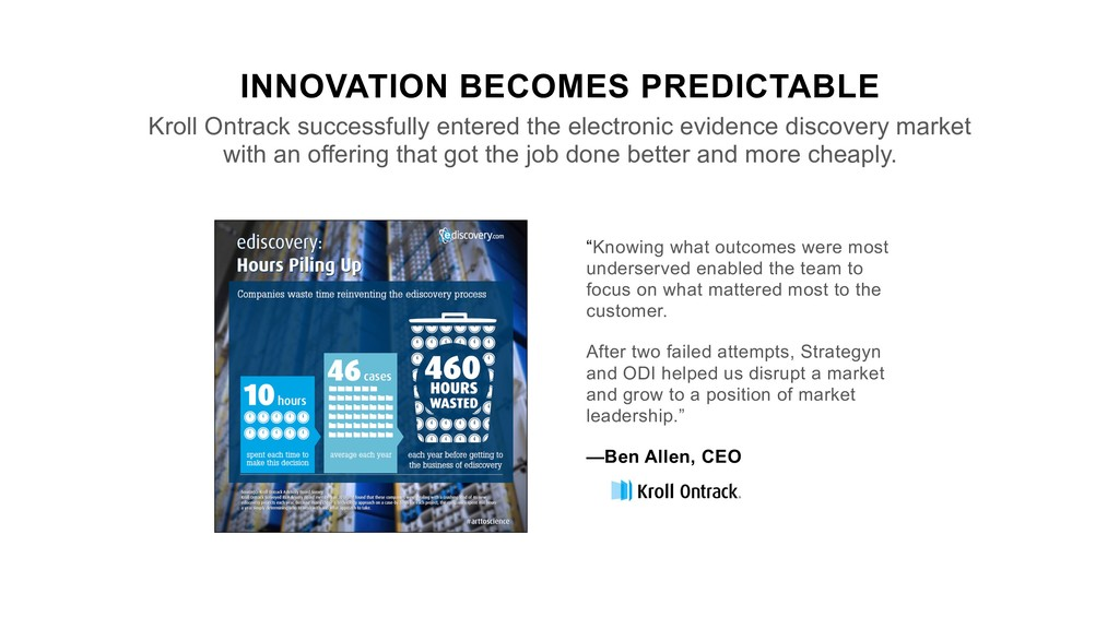 INNOVATION BECOMES PREDICTABLE Kroll Ontrack su...
