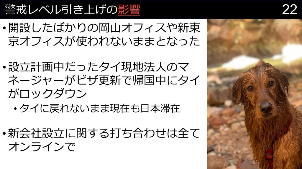 22 警戒レベル引き上げの影響 •開設したばかりの岡⼭オフィスや新東 京オフィスが使われないま...