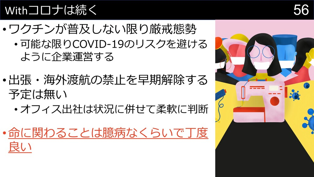 56 Withコロナは続く •ワクチンが普及しない限り厳戒態勢 • 可能な限りCOVID-19...