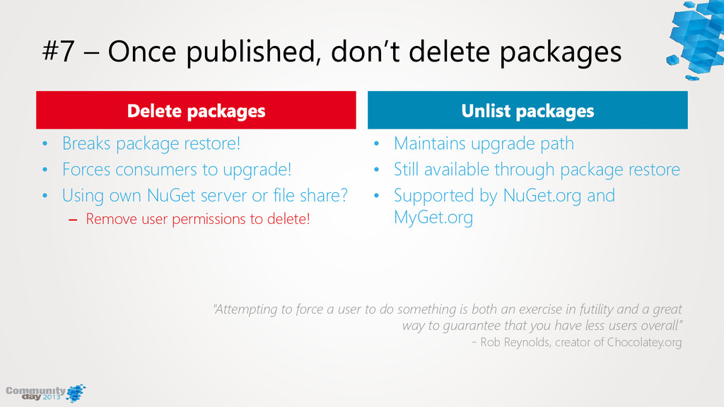 #7 – Once published, don't delete packages • Br...