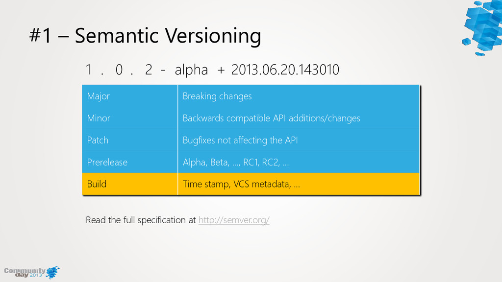 #1 – Semantic Versioning Major Breaking changes...