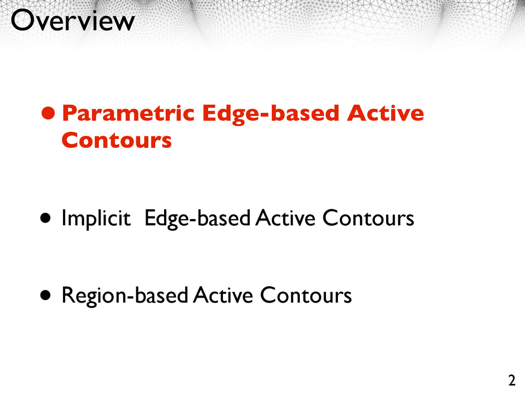 Overview •Parametric Edge-based Active Contours...