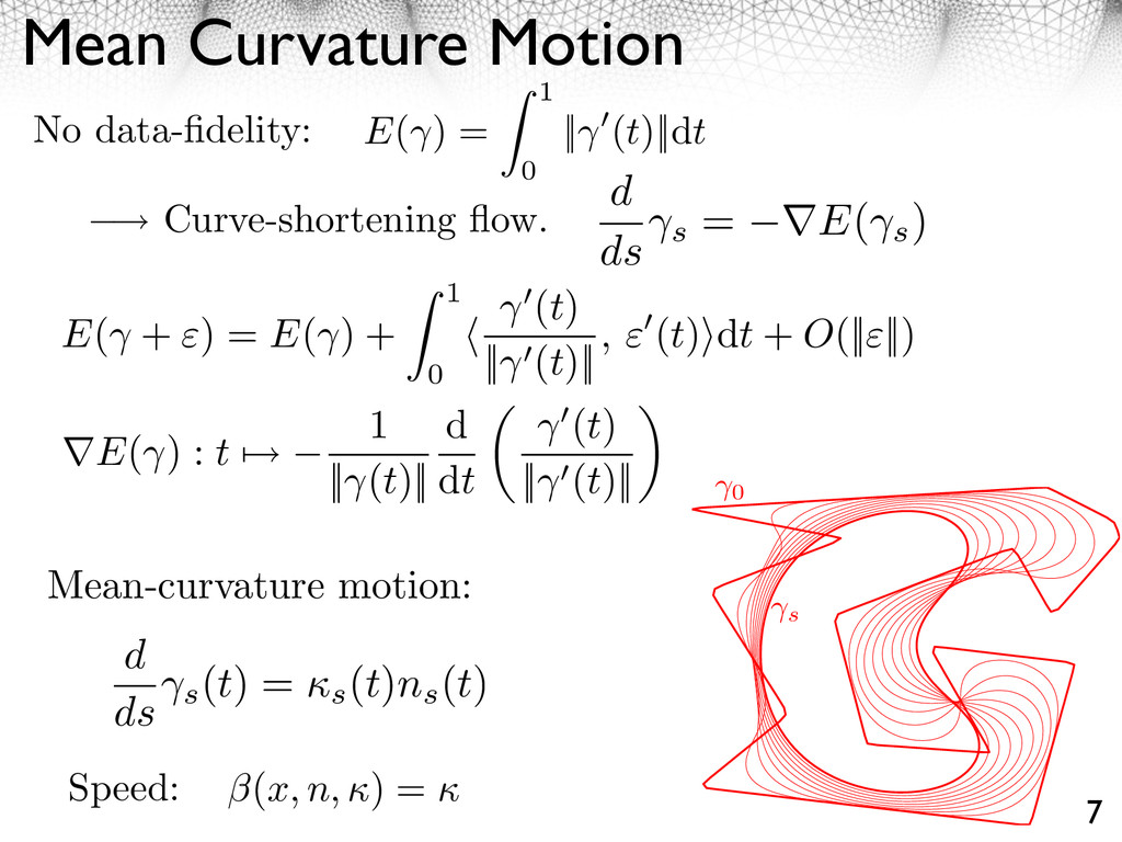 Mean Curvature Motion 7 (x, n, ⇥) = ⇥ Speed: No...