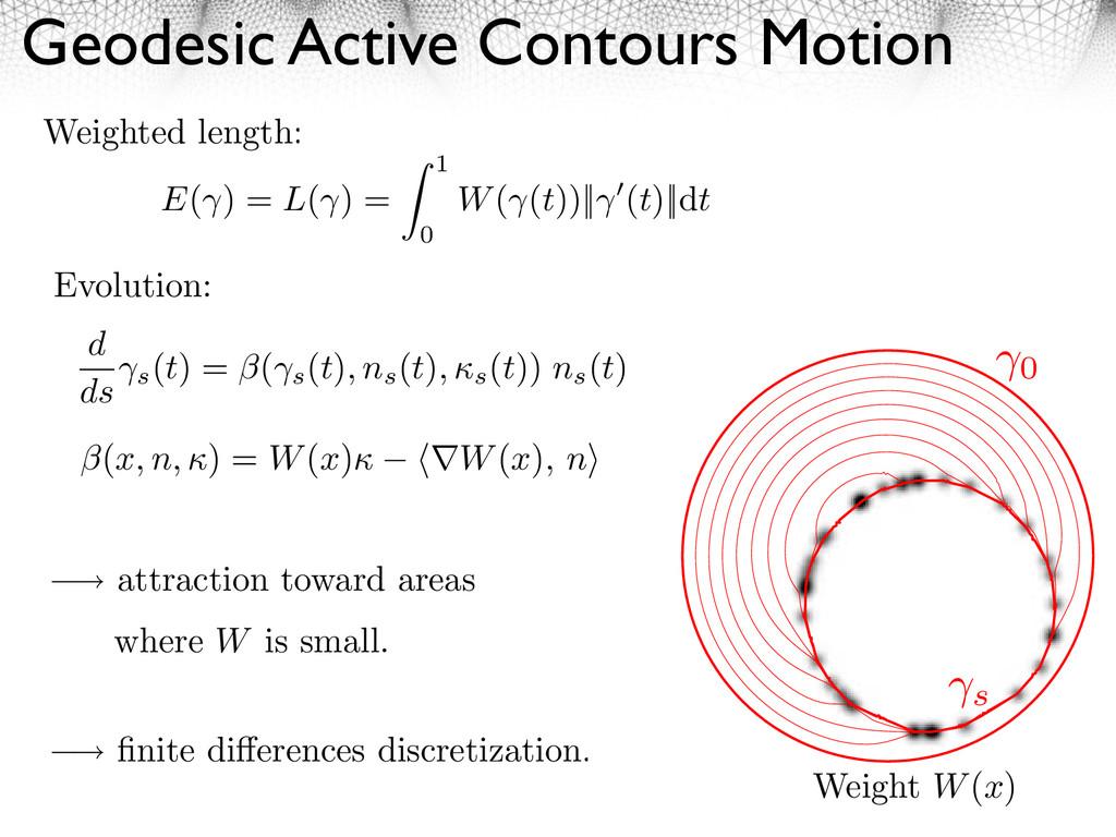 Geodesic Active Contours Motion E( ) = L( ) = 1...