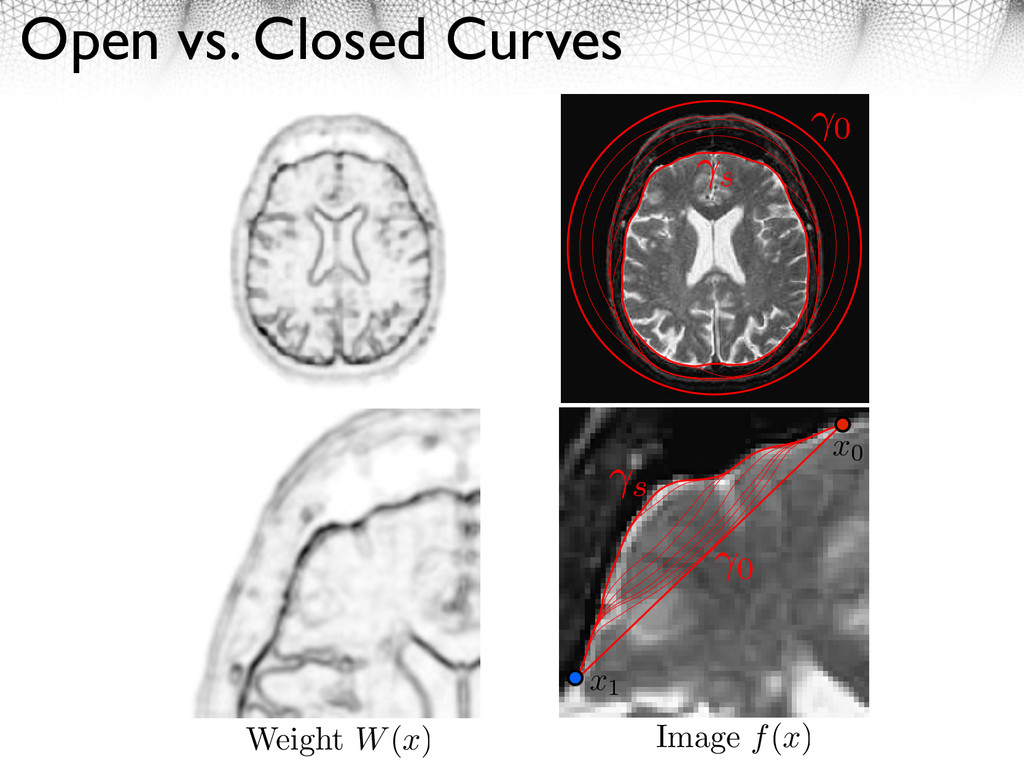 Open vs. Closed Curves s 0 Weight W(x) Image f(...