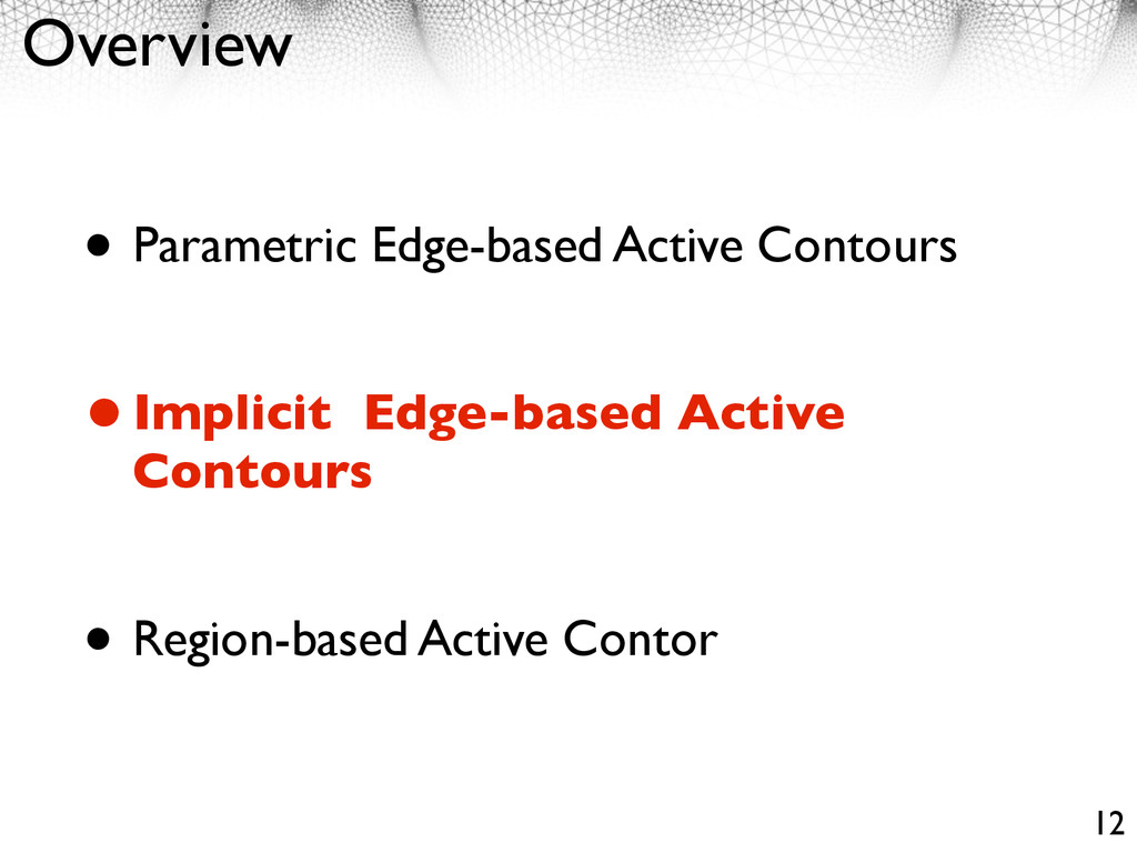 Overview • Parametric Edge-based Active Contour...