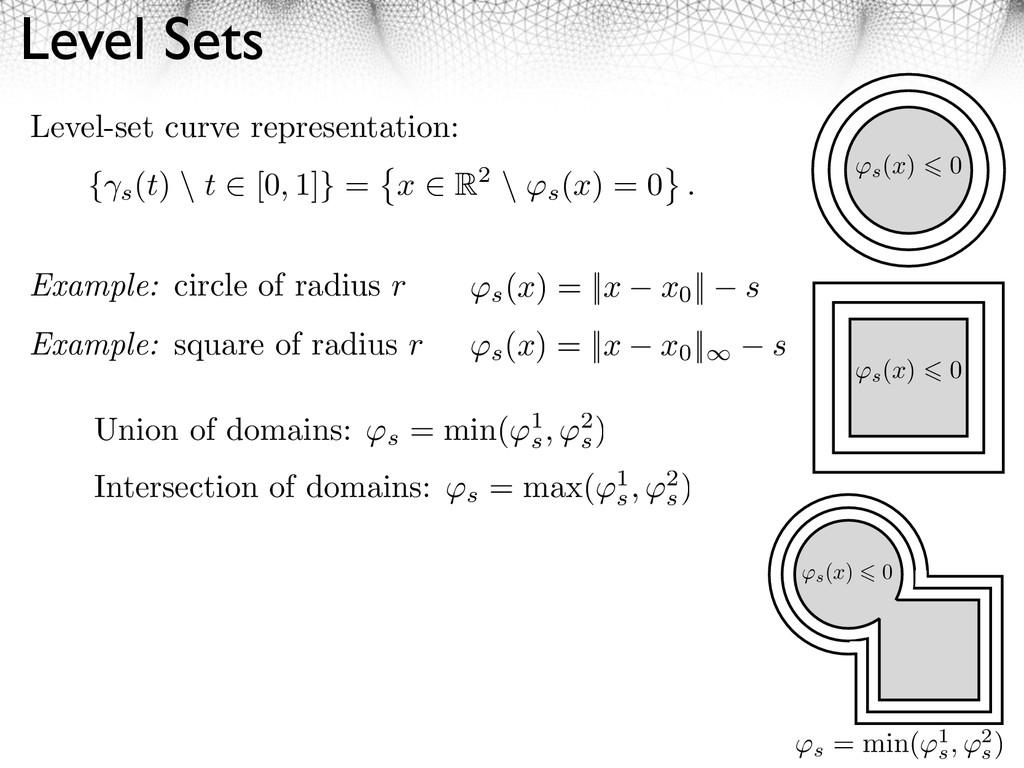 Level Sets { s (t) \ t [0, 1]} = x R2 \ ⇥s (x) ...