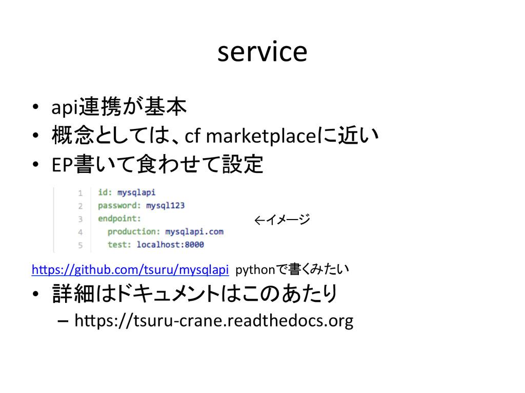 service • api連携が基本  • 概念としては、cf marke...